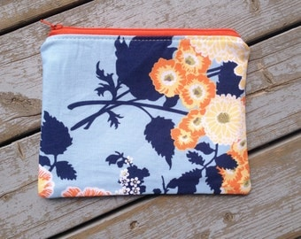 Modern Floral Print Zipper Pouch/ Botanque Bold bouquet in deep water Print Zipper Bag/ Joel Dewberry Print