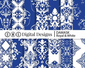 Royal Blue Damask Digital Paper: Blue Damask Printables, Damask Paper, Damask Blue, Digital Blue Damask, Blue Digital Damask