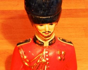 Vintage British Royal Guard Cologne Bottle Upper Torso Ceramic     00961