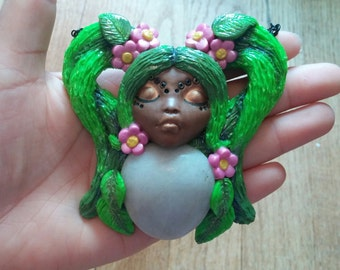 Earth Girl Stone and Polymer Clay Pendant