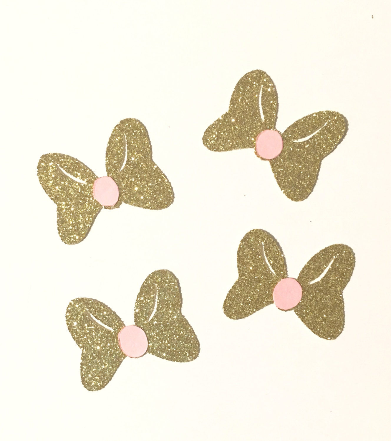 Pink And Gold Inspired Minnie Mouse Bows, Paper Cut Outs, Scrapbooking, Gold  And