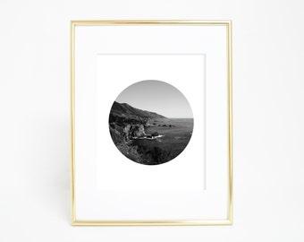 Big Sur Print, Circle Print, California Wall Decor, Black & White Photography, Minimalist Print, Coastal Art, California Print, Circle Art