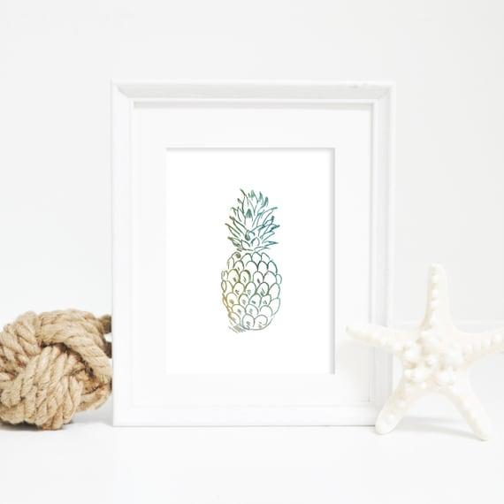 Digital Download Art, Beach Print, Tropical Decor, Watercolor Print, Green Pineapple, Nursery Art, Nursery Print, Pineapple Print, Art Print