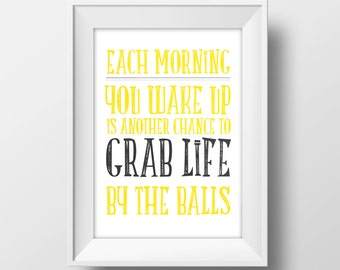 Inspirational Poster Print with Grab Life by the Balls for Retro Hipster Decor, Vintage Inspired Wall Art, or Masculine Manly Man Cave Art