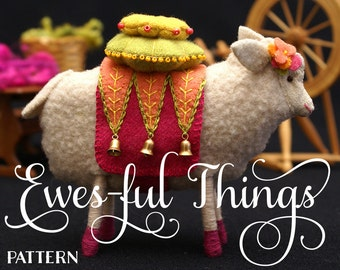 Ewes-ful Things: Ewenice the Sheep and Embroidered, Stacked Pincushion - Ewe-niversity Heirloom Pattern