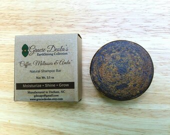 Coffee, Molasses & Amla All Natural Solid Shampoo Bar - Moisturize - Shine - Grow - Natural Hair Care - SLS Free - Apple Cider Vinegar - ACV