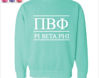 Pi Beta Phi  // Pi Phi  // Sorority Comfort Color Greek Letters Sweatshirt // Choose Your Color