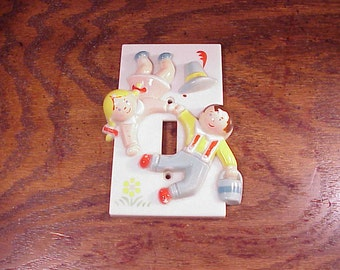 Jack and Jill Light Switch Plate Cover, made of plastic, Retro Switchplate