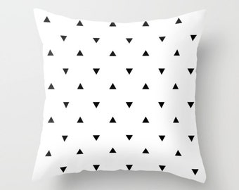 Customized Throw Pillow - Black & White Triangles Pillow - Decorative Pillow - Choose Color Pillow - Decorative cushion  - geometric pillow