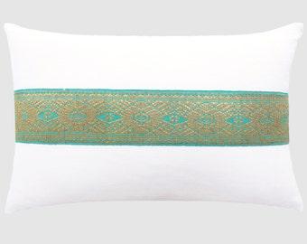 Vintage Songket Trim Pillow - White / Emerald - Large