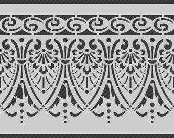 Reusable Traditional Border Stencil, Horizontal Seamless Repeat Pattern. SKU: S0116