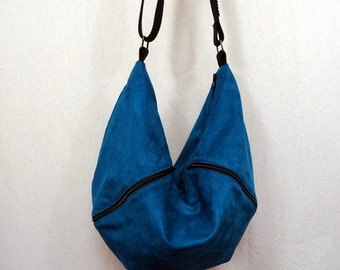 Blue teal suede lining pattern raccoon Messenger bag