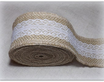 Burlap Hessian Lace Ribbon 6cm wide, 5 yards
