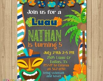 Luau Birthday Invitation, Luau Boy Party Invitation, Luau Boy Invitation, Hawaiian Birthday Invitation, Hawaiian Boy Invitation