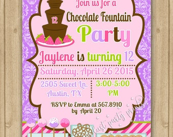 Chocolate Fountain Birthday Invitation, Chocolate Fountain Party Invitation