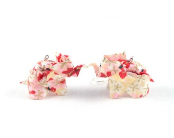 Earrings origami - Elephant red and white - Origami - Japanese paper