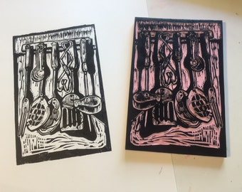 "Kitchen Tools (7""x4"" hand-pulled orginal linocut print)"