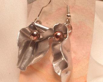Vagina earrings, stylised aluminum yoni vulva feminist jewellery