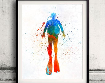 Man scuba diver 04 in watercolor - poster watercolor wall art splatter sport illustration print Glicée artistic - SKU 2086