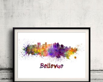 Bellevue skyline in watercolor over white background with name of city - Poster Wall art Illustration Print - SKU 1509
