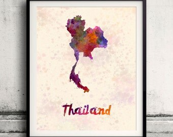 Thailand - Map in watercolor - Fine Art Print Glicee Poster Decor Home Gift Illustration Wall Art Countries Colorful - SKU 1834