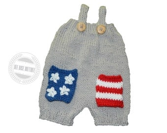 4th of july baby outfit| Baby boy coming home outfit| Knit baby romper| American flag | Newborn Boy photo outfit| Knitted baby clothes boy
