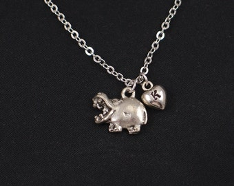 initial necklace, hippo necklace, silver hippopotamus charm, hippo pendant, animal necklace, kid jewelry, zoo necklace,birthday gift for her