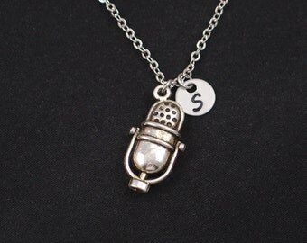 microphone necklace, initial necklace, silver microphone charm, music necklace, sing, singer jewelry, microphone jewelry, music lover gift
