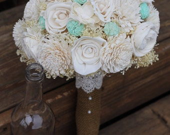Cream and Mint bouquet, sola, bouquet, wedding bouquet, rustic wedding, bridal bouquet, woodland wedding,  keepsake bouquet