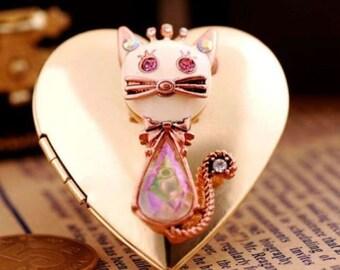 Authentic Betsey Johnson Vintage Betsey Cat Locket Photo Ring RARE