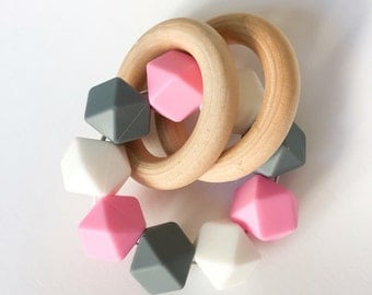Wooden baby Teethers Wooden Rattle Silicone Rattles Infant Silicone Teether Double Ring Teether Silicone Bead Teether Pink Teether Baby Teet