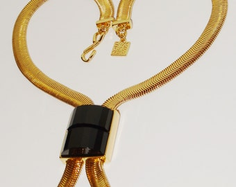 Vintage ANNE KLEIN Gold Plate Black Faceted Necklace.