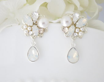 Wedding Earring, White Opal post wedding earring, Swarovski crystal and pearl drop earring, Unique silver teardrop bridal earring