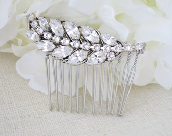 Swarovski leaf hair comb, Rhinestone bridal hair accent,Crystal headpiece, Wedding hair accessory