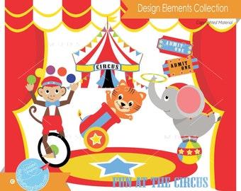 Amimal Circus Clipart, Vector EPS PNG JPG Image, Baby Animal Zoo Clip Art, Monkey Bear Juggling, Circus Backdrop, Carnival Scrapbook |C071
