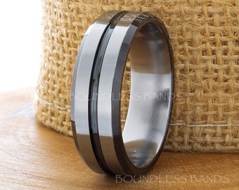 Tungsten Wedding Ring  Two Tone Gun Metal Black Promise Ring 8mm Black Beveled Edges Comfort Fit Mens Tungsten Band FREE Laser Engraving