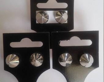 Silver Spike Stud Earrings