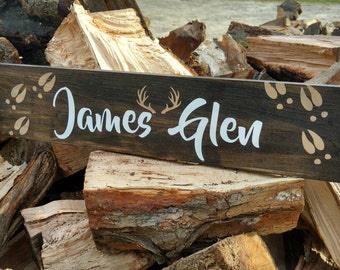 Childrens personalized name sign, baby girl gift, Newborn gift, baby shower gift, personalized childrens decor, newborn, antlers, deer