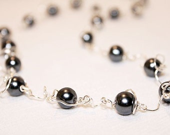 Pewter Pearl Swirl in link Necklace ~~~~~Item ID: M000080