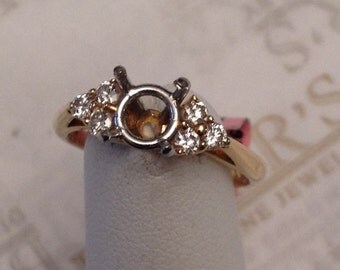 Lovely vintage 14k yellow gold & platinum 6 Diamond Engagement Ring Setting .26 tw GH-VS1,2, for a Round Center 1.00 ct