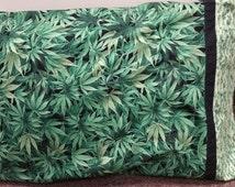 Pillowcase Kit - Cannabis Green Fabric - Timeless Treasures Nature-C3819 / Pot Fabric / Marijuana pillowcase  / cannabis pillowcase kit