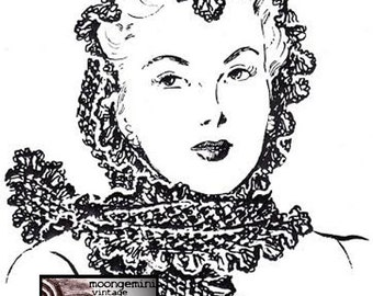 Crochet Scarf Fascinator Mantilla Shawl Vintage Crochet Pattern PDF Instant Download