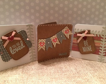 Mini Jar and Bunting Valentine cards. Set of 3!