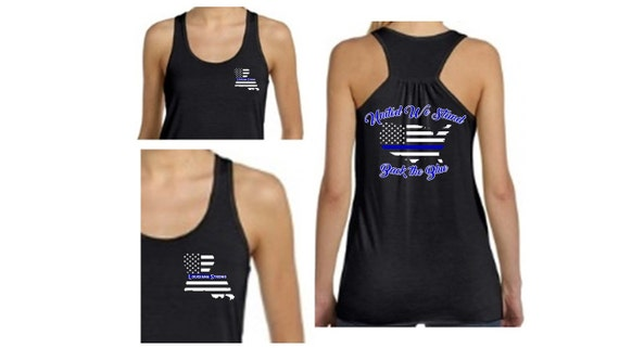 United We Stand/Back the Blue Tank - Ladies'Flowy Racerback