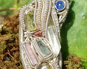 12 stone wire wrapped pendant