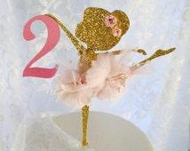 Ballerina Cake Topper - Ballerina Birthday - First Birthday - 1st - Ballerina Decorations - Pink Gold Party - Glitter Ballerina - Posh Party