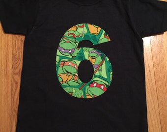 Ninja Turtle boy birthday shirt any number