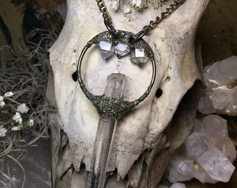 Crystal quartz Wand with Triple Herkimer Diamond Crown Pendant