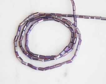 A3-036-24] Purple AB / 2 x 4mm / Faceted Crystal / Square Tube Bead  / 1 strand