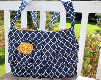 Ruffle Bag, Ruffle Purse, Navy Blue Quatrefoil Crossbody Bag, Navy and Mustard Ruffle Bag, Ready to Ship